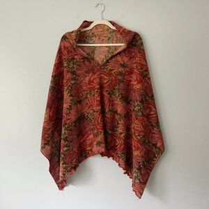 Vintage Pink Floral Knit Poncho Sweater One Size